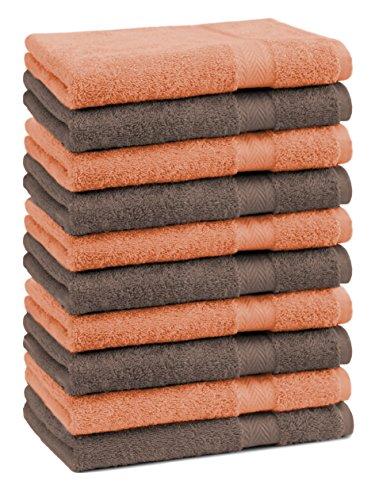 Betz Lot de 10 Serviettes débarbouillettes lavettes Taille 30x30 cm 100% Coton Premium Couleur Orange, Marron Noisette