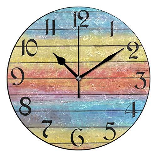 Arco iris Reloj de pared de madera Tablero silencioso que no hace tictac Relojes coloridos Reloj de escritorio vintage con pilas Reloj de cuarzo analógico Dormitorio silencioso Sala de estar Decoració