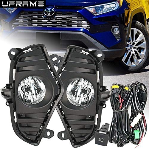 UFRAME Fits 2019 2020 Toyota Rav4 Fog light Kit w/Bezels/Wiring/Switch //Halogen Bulbs