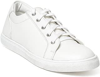 Bruno Manetti Men White Faux Leather Sneakers