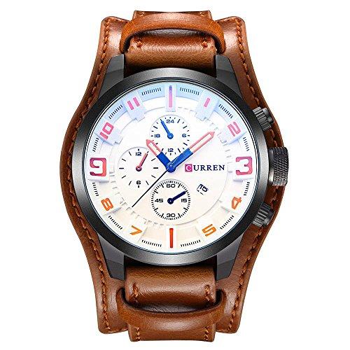 CURREN 8225 Reloj para Hombres Reloj de Pulsera de Cuero de Cuarzo Militar de Lujo marrón Marca Sport Reloj Masculino