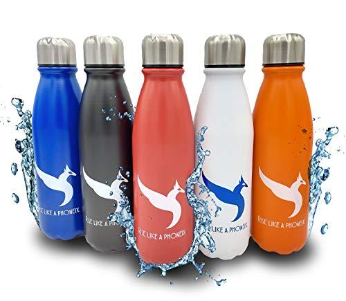 Sunflower Botella de agua de aluminio de 500 ml, de viaje, con aislamiento al vacío de doble pared, para camping, deportes al aire libre, senderismo, ciclismo