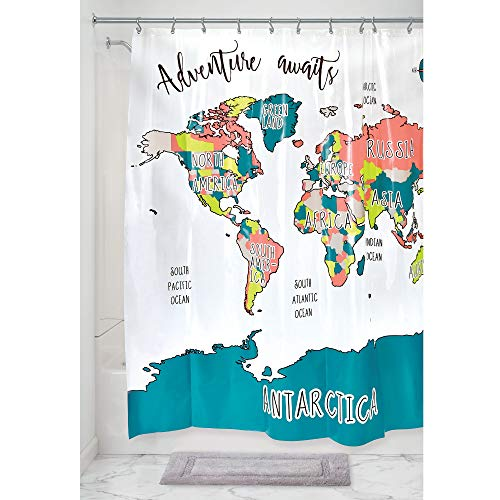 Price comparison product image iDesign Shower Curtain with 12 Eyelets for Bathroom,  Water-Repellent Bathroom Accessory Made of BPA-Free PEVA,  Modern Bathroom Curtains for the Shower or Bathtub,  Multi-Coloured
