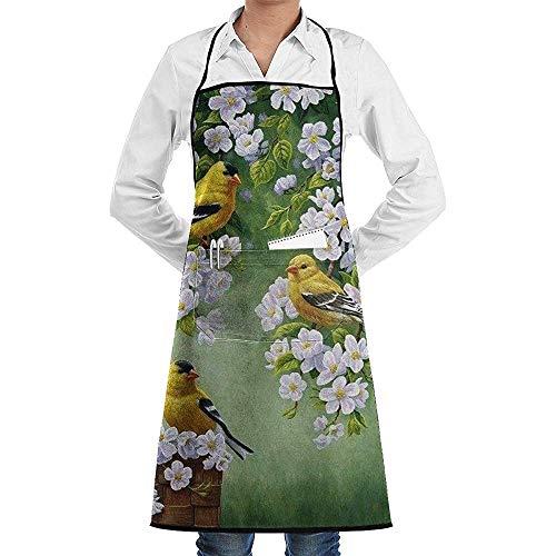 Reredith Vögel und Blumen drucken Bib Schürzen einstellbar Home Depot Schürze Küchenchef Schürze mit Taschen für Frauen und Männer