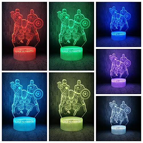 7 Color Changing Night Lamp 3D Atmosphere Bulbing Light 3D Visual Illusion LED Lamp for Kids Toy Christmas Birthday Gifts - Spiderman, Iron Man, Captain America (Marvel Heroes)