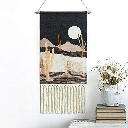 Dremisland Tapiz de montaña con diseño de cactus del desierto, noche estrellada, paisaje, para colgar en la pared