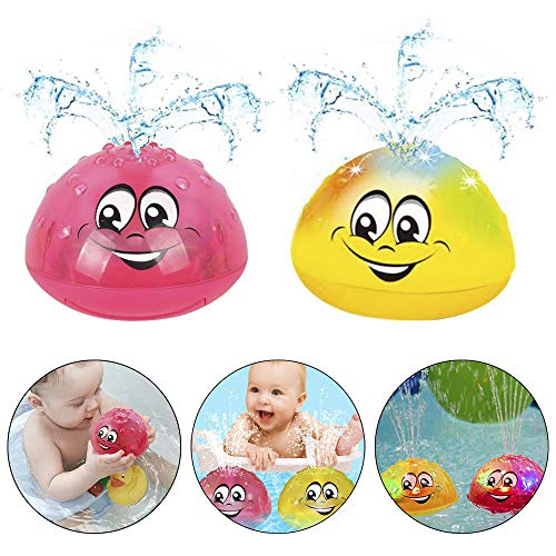 TRIEtree Spray Water Bath Toy,2 Pack Light Play Bath Toy Automatic Spray Baby Bath Toy Rotating Spray Water Bath Toy with Music and Flashing Lights for Baby Toddler Water Play Party