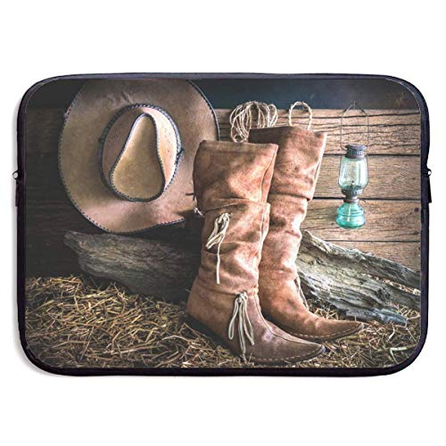 Cowgirl Stiefel Hut In Farm Laptop Hülle - Stilvolle süße Notebook Handtasche Laptop Hülle