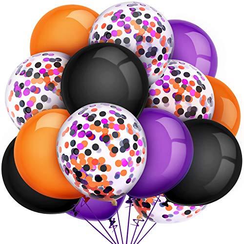 Tatuo 80 Pieces Halloween Balloons Set Confetti Balloons Latex Balloons for Birthday Baby Shower Wedding Graduation 4th of July Decorations, 12 Inch (Black, Orange, Purple)