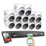 Sistema de cámara de vigilancia ANNKE 16CH 4K POE, 16 canales H.265 NVR 2TB HDD con 12 x 1080P Dome PoE IP Kit de cámara IP APP Push Alert para casa, interior, exterior videovigilancia