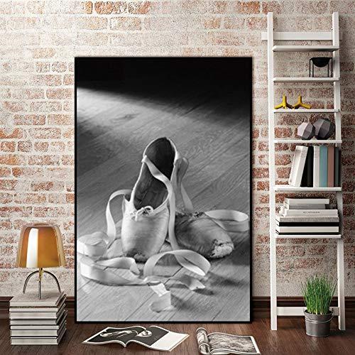KWzEQ Imprimir en Lienzo Zapatillas de Ballet para la decoración del hogar Fotos póster de Arte de pared50x75cmPintura sin Marco