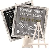 Tukuos Double Sided Felt Letter Board with Rustic Wood Frame,750 Precut Gold & White Letters,Months & Days & Script Cursive Words,Wall & Tabletop Display Decor (White Rustic 10x10 Black/Gray Easel)