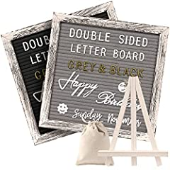 "DOUBLE-SIDED,WEATHERED RUSTIC LOOK: Every changeable felt letter board has 2 sides, can be used as a grey or black letter board with classic farmhouse rustic 10"" x 10"" frame.Made by pure handicraft( May be some variation ). REUSABLE LETTERS : 376 whi..."