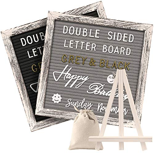 Tukuos Double Sided Felt Letter Board with Rustic Wood Frame,750 Precut Gold & White Letters,Months & Days & Script Cursive Words,Wall & Tabletop Display Decor(10x10in)