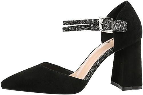 NVXIE Mode Pointue Chaussures à Talons Hauts Sexy Nightclub avec Un Mot avec des Chaussures de Femmes Rugueuses 34-38
