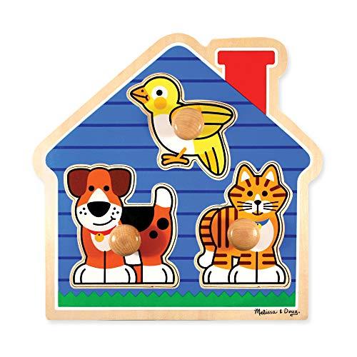 Melissa & Doug 12055 - Puzzle con Pioli Grandi, Animali da Compagnia Domestici, Multicolore