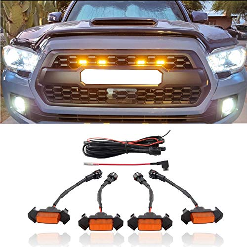 ZGAUTO Fits TACOMA TRD Grille LED Amber Lights With Fuse Adapter Fit for TACOMA TRD Grille 2016 2017 2018(4 Piece,Yellow)