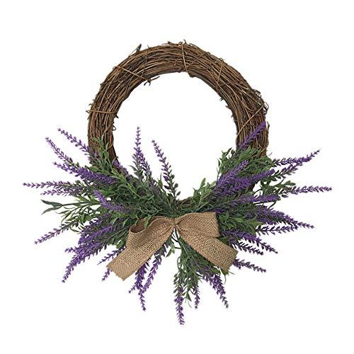 Warooma Artificial Lavender Wreath,32.5cm Purple Flower Garland Arrangements Front Door Hanging Wall Homer Wedding Decoration