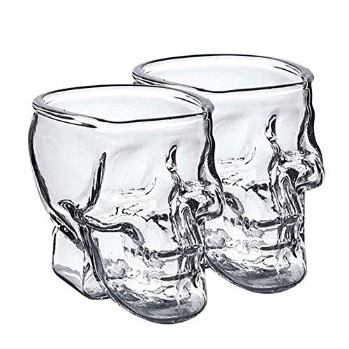 DXQDXQ Totenkopf Schnapsgläser 2er Set Schnapsglas Skull 200ML Shot-Gläser Schnaps-Becher aus Glas Stamper Gläser-Set Spülmaschinengeeignete Perfekt für farbige Getränke