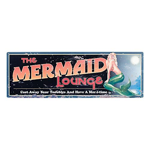 OHIO WHOLESALE, INC. The Mermaid Lounge Rustic Tin Sign | Mermaid Home Kitchen Bathroom Wall Decor | 8 x 24 Inch