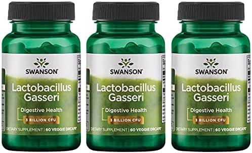Swanson Lactobacillus Gasseri 3 Billion CFU Digestive Health Fat Metabolism Satiety Probiotic Supplement 60 Veggie Capsules (Acid-Resistant Designed-Release)