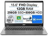 Newest Acer Aspire 3 15.6' FHD 1080P Laptop Computer, 10th Gen Intel Quad-Core i5 1035G1 (Beats i7-7500u), 12GB DDR4 RAM, 256GB SSD+500GB HDD, Webcam, HDMI, WiFi, Bluetooth, Windows 10, AllyFlex MP