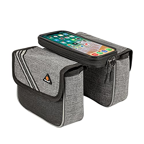 Oukerde Bicycle Bag,Bike Frame Bag,Waterproof Bike Pouch Bag,Bike Touchscreen Phone Bag,Waterproof Bicycle Top Tube Pouch,Fixed Pocket With Touch Screen,suitable For Mobile Phones Below 6.5 Inches