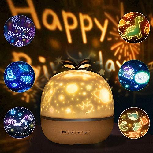 Lampada Proiettore Stelle Bambini, SANBLOGAN Luce Notturna Bambini LED Stelle Lampada con 6 Pellicole di Proiezione 360°Rotante Proiettore Lampada per Regali di Natale Compleanno Decorazioni Camerette
