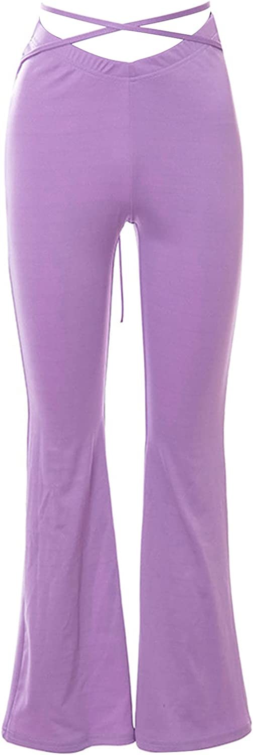 Tababobyto Women's Flare Pants Mid Waist Lack-up Wide Leg Casual Sexy Drawstring Stretchy Bell Bottom Pants