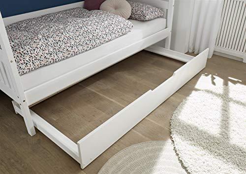 möbelando Funktionsbett Bett Einzelbett Kojenbett Tandemliege Universal I Weiß