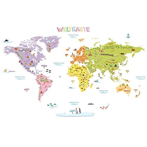 DECOWALL DMT-1306DE Tedesco Mappa del Mondo Colorato (Grande) Adesivi da Parete Decorazioni Stickers Murali Soggiorno Asilo Nido Camera Letto per Bambini decalcomanie