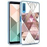 kwmobile Hülle kompatibel mit Samsung Galaxy A7 (2018) - Handyhülle - Handy Hülle Glory Dreieck Muster Rosa Rosegold Weiß