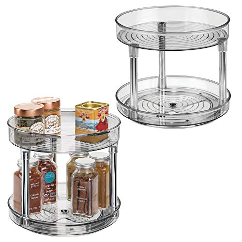 mDesign Set of 2 Lazy Susan Spice Rack – 2-Tier Kitchen Storage Unit with Rotatable Shelving Made of Plastic – Perfect for Use as Condiment Holder, Spice Rack and More – Smoke Grey (Kitchen & Home)