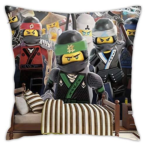 ZVEZVI Lego Ninjago - Funda de almohada de algodón puro para sofá suave decoración del hogar, 45 x 45 cm