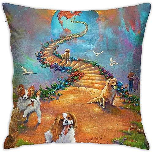 DayToy Funda de Almohada Rainbow Bridge Todas Las Mascotas Los Perros Van de la Escalera al Cielo Fundas de Almohada Funda de Almohada Fundas de cojín con Cremallera