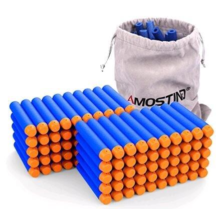 AMOSTING Bullets 100-teilige Dart-Nachfüllungen für Nerf N-Strike Elite Blaster-Spielzeugpistolen, Nerf Bullets Accustrike Darts für Nerf Gun, grünes Spielzeug mit Aufbewahrungstasche - Blau