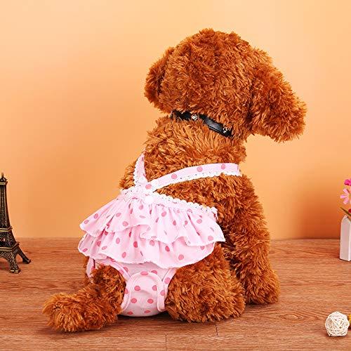 MYYXGS Hund Physiologische Hose Haustier Physiologische Hose Teddy Hund Menstruationshose Polka Dot Strap Physiologische Hose Hund Physiologische Anti-BeläStigungs-UnterwäSche