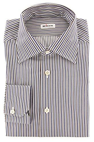 Kiton Brown Stripes Button Down Cutaway Collar Cotton Slim Fit Dress Shirt, Size x-Small 15