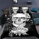 Erosebridal Sugar Skull Bedding Duvet Cover King 3D Printed Gothic Skull Bedding Set Floral and Skull Soft Retro Comforter Cover for Home Decor Horror Skulls Bed Quilt Cover Skull Theme Bedding Set D