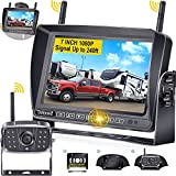 RV Backup Camera Wireless with 7'' Touch Key DVR Monitor, DoHonest S21 HD 1080P Bluetooth Backup Camera Stable Digital Signals for Furrion Pre-Wired RV Trailer Truck, IR Night Vision Rear View Camera