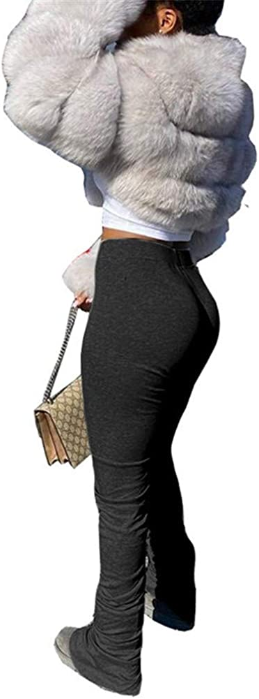 Women's Ruched Flare Pants Stacked Joggers Pleated Bell Bottom Bikers Trousers Split Bell Bottom Pants