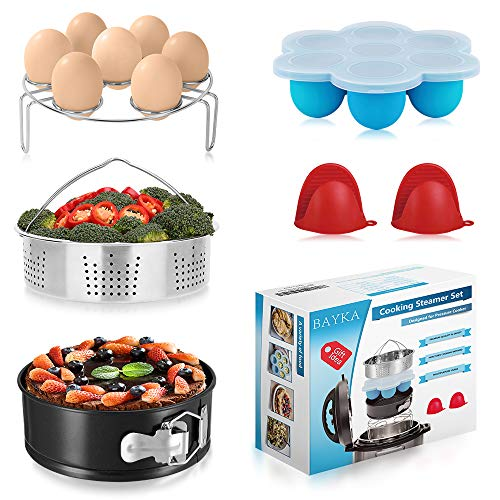 BAYKA Pressure Cooker Accessories Set, Compatible with Instant Pot 5, 6, 8 Qt, Steamer Basket, Springform Pan, Bites Molds, Egg Rack, Mini Mitts, 5,6,8
