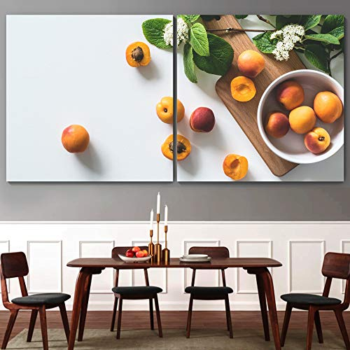 """bestdeal depot Apricot 2 Panel Canvas Wall Art Prints for Living Room,Bedroom Ready to Hang - 24""""x24"""" x 2 Panels"""