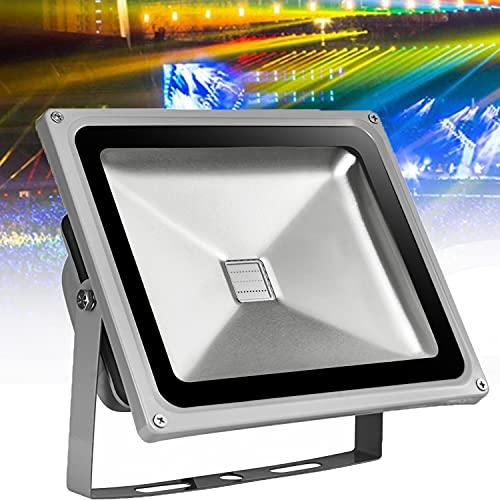 WZFANJIJ Foco LED RGB Exterior, Cambio de Color 100W, Modo estroboscópico Personalizado para Bricolaje, RGB 16 Colores, Control Remoto Incluido, IP65 a Prueba de Agua,RGB-100W