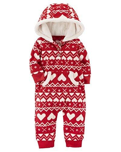Carter's Baby Girls' One Piece Heart Print Fleece Jumpsuit 18 Months