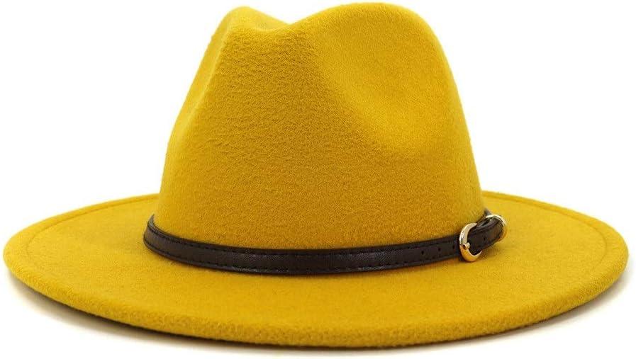 LHZUS Hats Elegant Men Women Cotton Jazz Fedora Hat Summer Spring Solid Color with Adjustable Belt Hat (Color : Yellow, Size : 59-60cm)