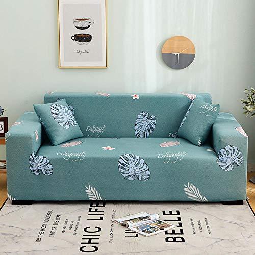 Funda de Sofá Elástica Funda Sofá Gruesa Antideslizante, Cubierta Sofa Muebles con Cuerda de Fijación Antideslizante Protector de Muebles (Hojas, Verde, 3 Plazas )