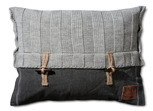 Knit Factory sierkussen gebreide kussen ribben / 60 x 40 cm (met vulling)
