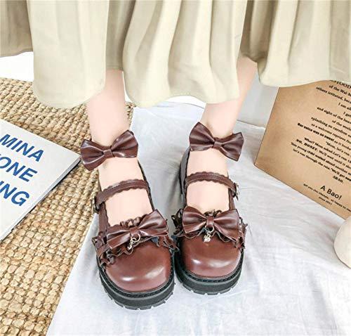 DQS Scarpe Lolita Scarpe da Donna Tacco Basso Testa Tonda Bowknot Scarpe comode Scarpe da Ginnastica Giapponesi Piattaforma Scarpe Vintage Harajuku