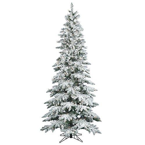 Vickerman Flocked Slim Utica Tree with Dura-Lit 300 Clear Lights, 6.5-Feet by 39-Inch